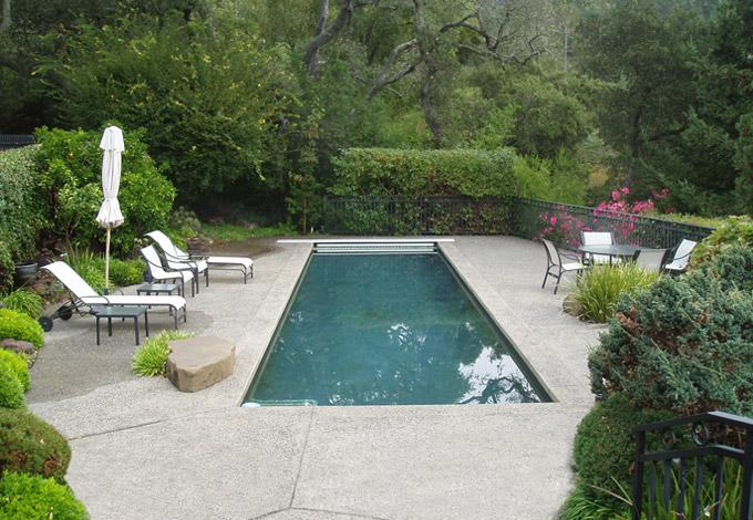 Landscape architect kentfield marin county for Pool design hillside